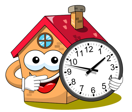 Happy house cartoon funny character holding analogue clock isolated on white Illustration