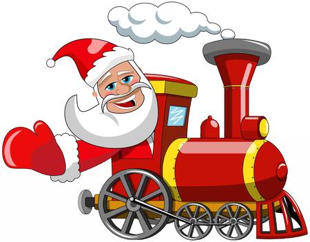 Cartoon Santa Claus driving steam locomotive isolated