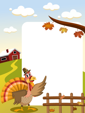 cartoon thanksgiving turkey with pilgrim hat in countryside showing blank frame