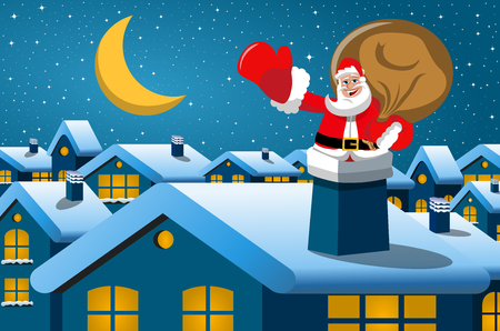 Happy Santa Claus in the chimney at christmas night