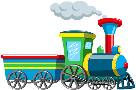 Colorful cartoon stem train isolated