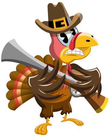 Cartoon Thanksgiving Threatening Turkey with Rifle isolated 向量圖像