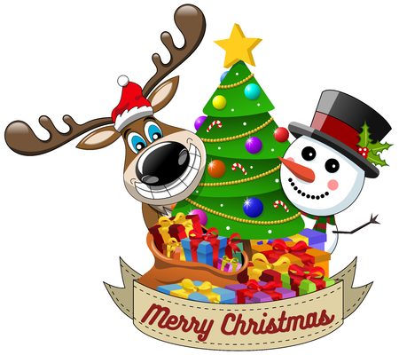 Cartoon funny reindeer and snowman wishing merry christmas behind decorated xmas tree isolated Illustration