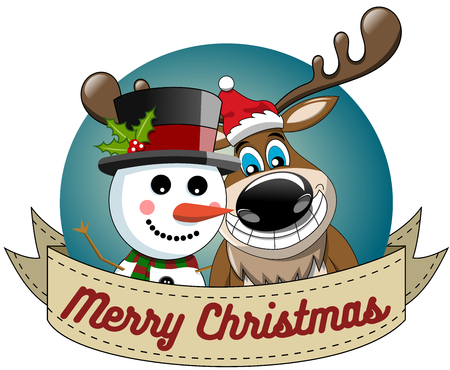 Cartoon funny reindeer and snowman wishing merry christmas in round frame isolated
