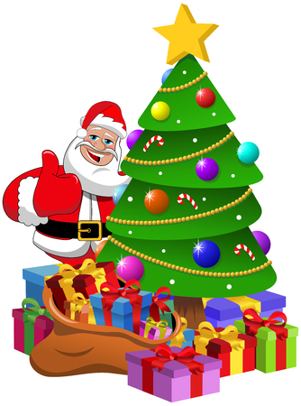 Santa Claus Thumb Up behind xmas tree with gift boxes isolated