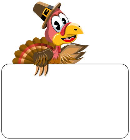 Cartoon turkey with pilgrim hat behind blank banner isolated