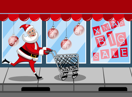 Santa Claus shopping running empty cart black friday sale