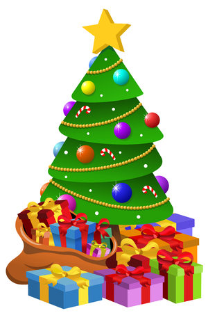 Decorated Xmas Tree surrounded by lots of Giftboxes Isolated Illustration