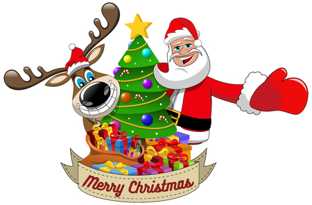 Cartoon funny reindeer and santa claus wishing merry christmas behind decorated xmas tree isolated