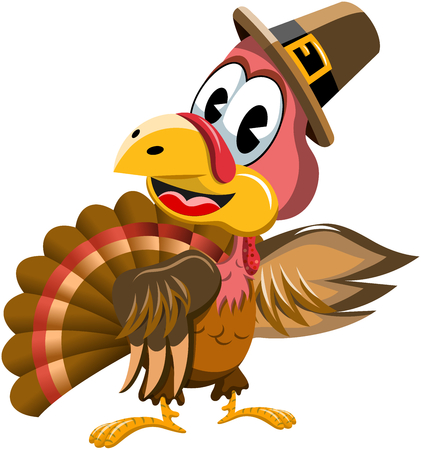 Cartoon turkey with pilgrim hat presenting isolated