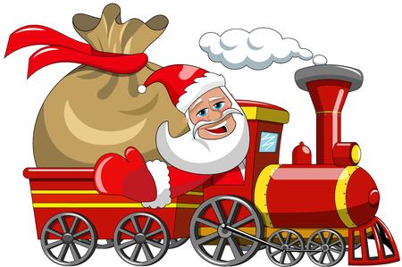 Cartoon Santa Claus Delivering Big Sack isolated by steam train Векторная Иллюстрация