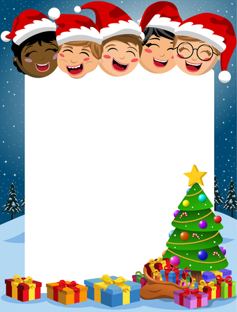 Happy multicultural kids behind blank vertical frame with xmas tree and gift boxes