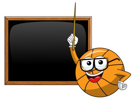 basketball ball cartoon funny character teacher blackboard or chalkboard stick class copyspace isolated on white Illusztráció
