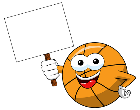 basketball ball cartoon funny character copy space blank banner isolated on white