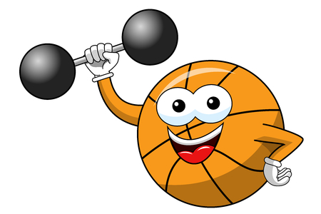 basketball ball cartoon funny character weightlifter isolated on white