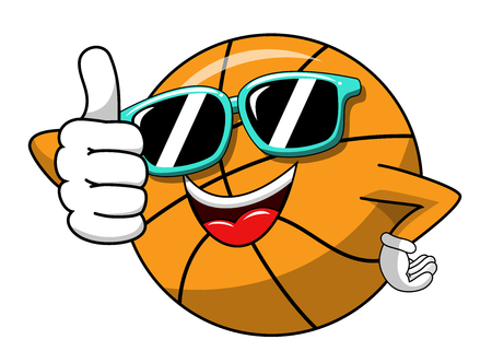 basketball ball cartoon funny character cool sunglasses thumb up like isolated on white Illustration