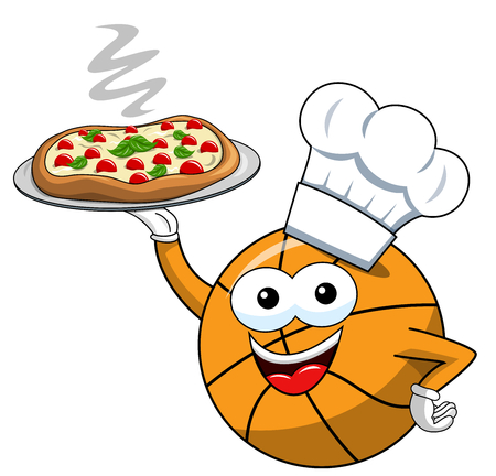 Basketball ball cartoon funny character pizza cook serving isolated on white