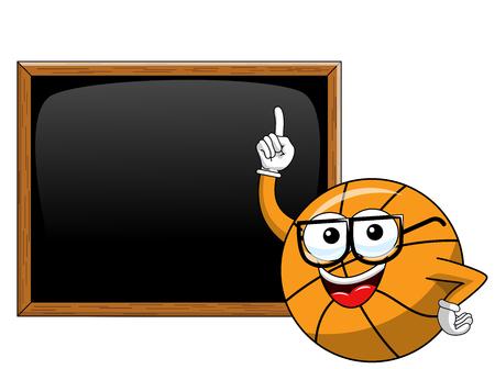 basketball ball cartoon funny character blackboard or chalkboard copyspace teacher isolated on white
