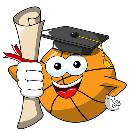 basketball ball cartoon funny character got degree isolated on white Illusztráció