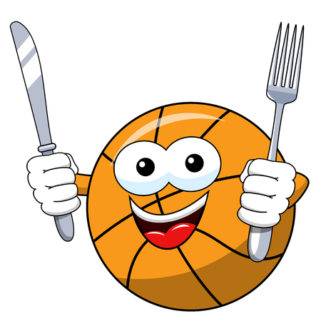 basketball ball cartoon funny character fork knife hungry isolated on white