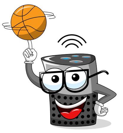Smart speaker cartoon funny character spinning basketball isolated on white