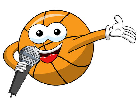 Basketball ball cartoon funny character microphone presenter isolated on white