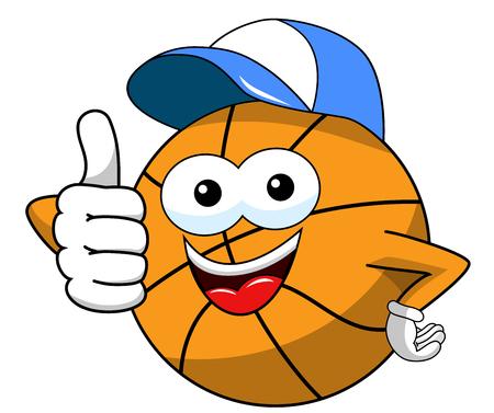 basketball ball cartoon funny character cap thumb up isolated on white Illusztráció