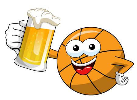 basketball ball cartoon funny character mug beer celebration isolated on white Illusztráció