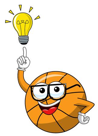basketball ball cartoon funny character idea solution eureka isolated on white Illusztráció