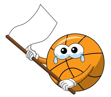 basketball ball cartoon funny character crying white flag waving sad isolated on white