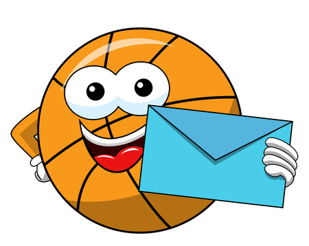 basketball ball cartoon funny character envelope mail isolated on white
