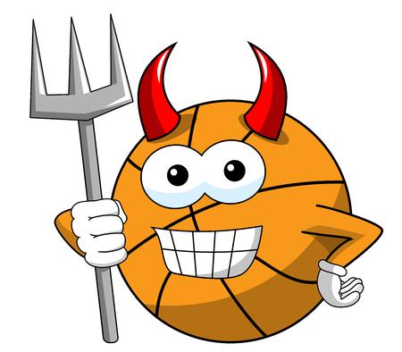 basketball ball cartoon funny character devil trident horns isolated on white Illusztráció