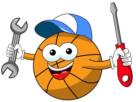 basketball ball cartoon funny character plumber tools fixing isolated on white Illusztráció