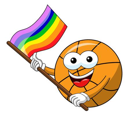 basketball ball cartoon funny character multicolor rainbow peace flag isolated on white
