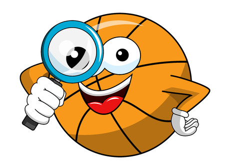 basketball ball cartoon funny character magnifying lens isolated on white