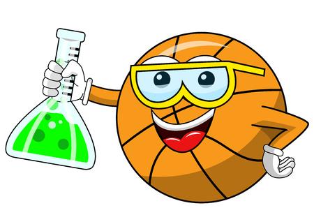 basketball ball cartoon funny character chemist cruet isolated on white