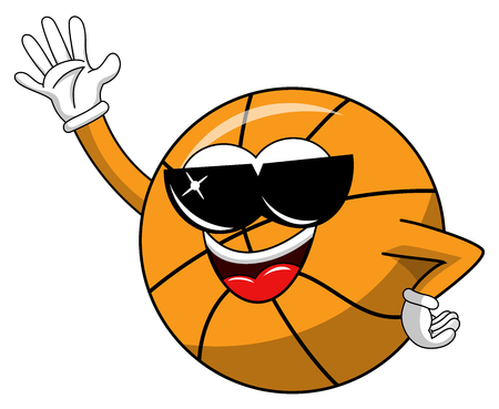 basketball ball cartoon funny character cool sunglasses waving isolated on white