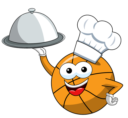 basketball ball cartoon funny character cook serving tray food isolated on white