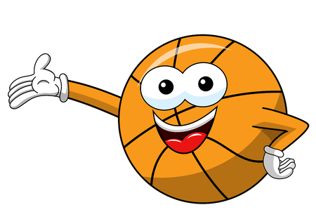 basketball ball cartoon funny character presenting showing isolated on white
