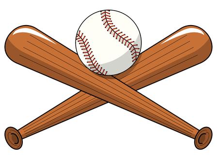 Baseball ball crossed wooden bats logo cartoon vector isolated on white Illustration