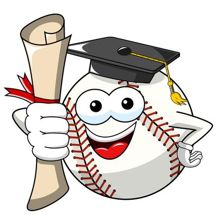 baseball ball character mascot cartoon gets degree vector isolated on white