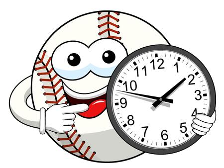 baseball ball character mascot cartoon clock time vector isolated on white Vetores