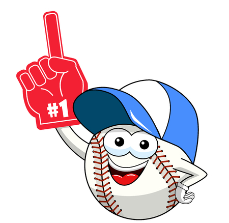 baseball ball character mascot cartoon supporter number one glove vector isolated on white