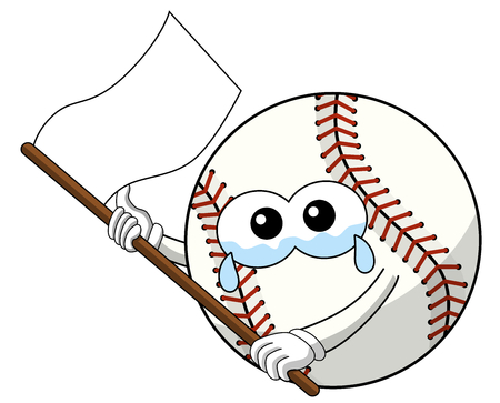 baseball ball character mascot cartoon sad white flag vector isolated on white