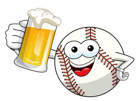 baseball ball character mascot cartoon vector beer mug isolated on white
