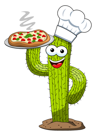 cactus character mascot cartoon cook pizza vector isolated on white Stock Illustratie