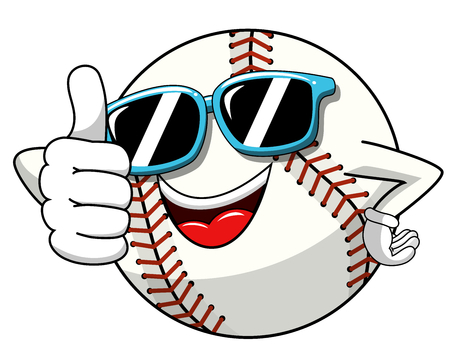 baseball ball character mascot cartoon sunglasses thumb up gesture vector isolated on white