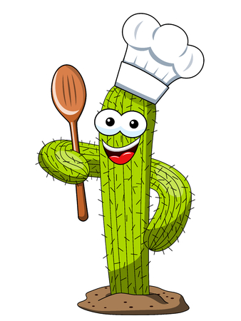 cactus character mascot cartoon cook wooden spoon vector isolated on white