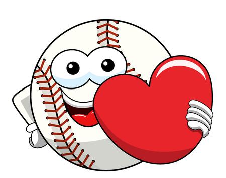 baseball ball character mascot cartoon love heart vector isolated on white