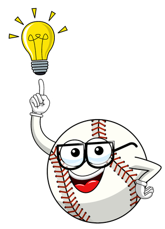 baseball ball character mascot cartoon vector lightbulb idea innovation isolated on white
